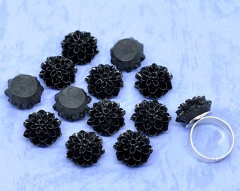 Black Resin Flower Cabochon Chrysanthemums for Arts Crafts Scrapbooking Jewelry Necklaces Earrings Embellishments Pack of 10, 16 x 8mm
