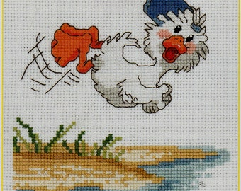Janlynn, Suzy's Zoo, Counted Cross Stitch Kit, #38-186, Dive Right In, Suzy Spafford, cross stitch kit, home decor, nursery decor, gift