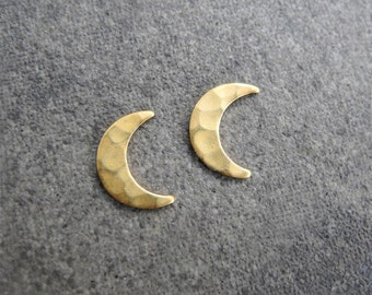 Crescent Moon Earrings, Moon Phase Jewelry, Lunar Earrings, Unisex, Moon Jewelry, Hammered Brass Studs, Sterling Silver Hypoallergenic