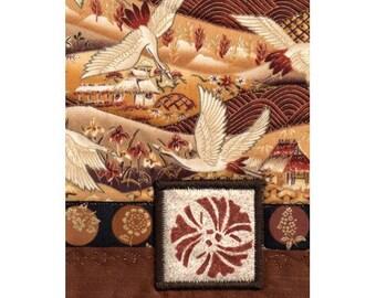 Collage de mini couette Ginkgo feuille grues paysage d'automne Style asiatique