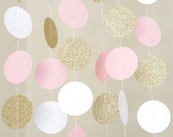 Roze, witte en gouden cirkel Dot Garland 5 voeten