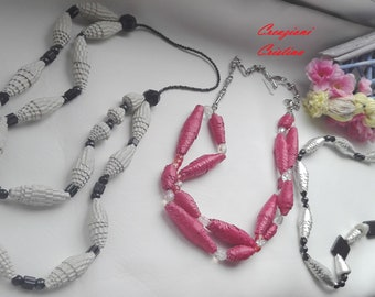 Creative recycling-paper or faux leather necklaces (single pieces)-handmade necklaces with recycled materials (original piece)