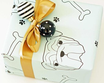 Dog Wrapping Paper - Dog Illustration - Dog Breed - Dog Lover - Holiday Gift Wrap - Gift Wrap Sheets - You Choose Color