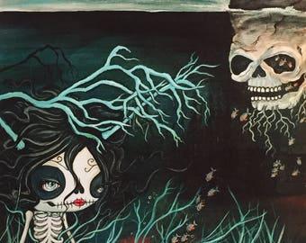 Love Story sugar skull girl heart skeleton nautical art portrait print Large Print 11 x 14