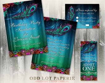 Peacock Birthday Party Invitation Suite, Party Printables, Peacock Feather, Printable Party Invitations with feathers