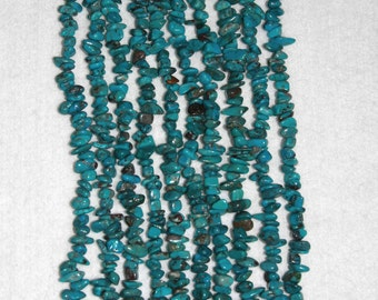 Turquoise, Natural Turquoise, Turquoise Chips, Blue Turquoise, Natural Stone, Spacer Bead, Full Strand, No2, 5-9mm