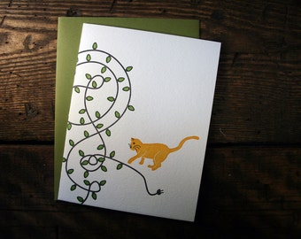Letterpress Printed Holiday Cat & Lights Card - single