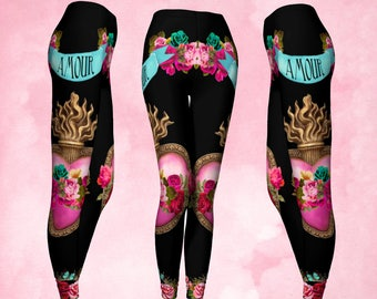 Leggings, Sacred heart, heart milagro, Immaculate heart, flaming heart roses, amour, pink and black, pink and turquoise, unusual leggings