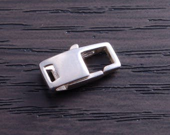 One Sterling Silver 14mm Square Lobster Claw Clasp DB4M