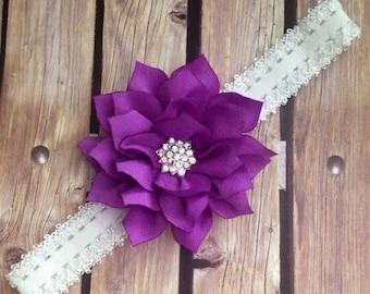 Purple headband, purple and white headband, flower headband, floral headband, flower girl headband, halo, purple flower headband, baby bow