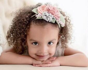 Muted blush Pink Rosebud felt flower Headband