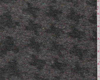 Grey/Forest Houndstooth Boiled Wool Knit, Fabric By The Yard