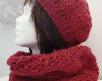 All Red Hat + snood knit Merino and alpaca scarf