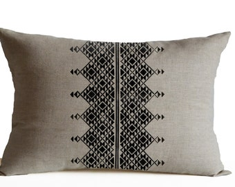 Oatmeal Linen Throw Pillow Cover, Embroidered Pillow, Moroccan Pillow, Housewarming Gift, Wedding Anniversary Gift, Black Embroidery Pillow