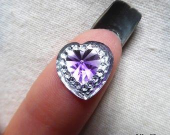 Cabochon 12mm heart silver rhinestone purple diamond x 1