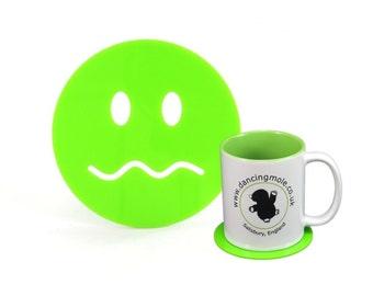 Muddle Smiley Face Emoji Coaster Green