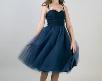 Dark blue tulle dress / Sleeveless party dress / Sweetheart bust dress / Blue evening dress / Navy dress/ Tea length dress /bridesmaid dress