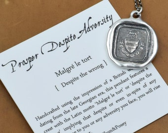 Prosper Despite Adversity Dog Wax Seal Crest Necklace - 139