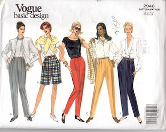 1992 Vintage Vogue 2946 Sewing Pattern  Size 20 22 24 Waist 34 37 39  Hip 44 46 48  Misses'/Miss WIDE legged Shorts or Long Pants Very Easy