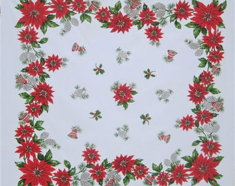 Vintage Christmas Tablecloth Table Cloth Mid Century Table Linens Red Poinsettias Gold Pine Cones Vintage Linens