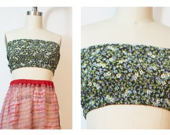 Navy Green Ditsy Floral 90s Vintage Fabric Tube Top Bandeau UpCycled Deadstock Fabric