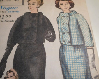 Vintage 1960's Vogue 4180 Special Design Suit and Blouse Sewing Pattern Size 14 Bust 34