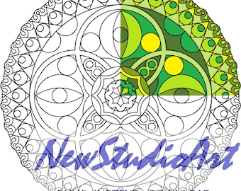 Printable Mandala Coloring Page-Art Therapy-Adult Coloring Page-Antistress-Coloring for Relaxation-Instant Digital Download - MANDALA 004