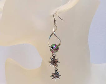 Spiral Rod earrings original green star bead