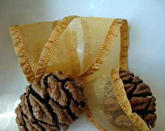 Iridescent Gold Organza Ribbon with Ruffled Edges