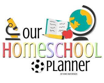 Rainbow Themed Homeschool Planner (Letter Size - will fit Large Happy Planner!) 18 Page PDF instant download. Lesson Plan, calendar and MORE