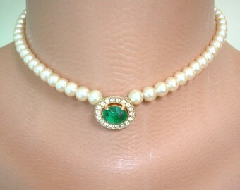 Vintage CIRO Pearls, Pearl Choker, Pearl Necklace, Pearl And Emerald, Bridal Choker, Cream Pearls, CIRO Jewelry, Single Strand, Wedding