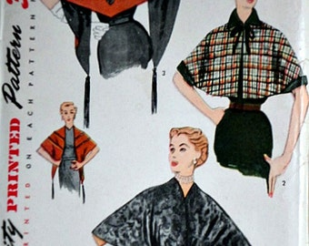 Vintage 50's Simplicity 3671 Sewing Pattern, Misses' Cape And Stole, Size Small 12-14, Bust 30 - 32, Factory Folded