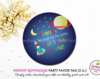 Outer Space - Printable 3 inch Birthday Party Favor Tags - Instant Download PDF File