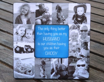 Father's Day Collage Picture Frame, Unique Father's Day Gift - Personalized Baby Picture Frame, Baby's First Year, Custom Dad Birthday