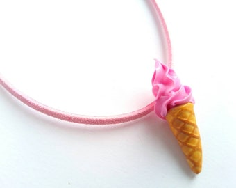 Ice Cream Necklace, Food Jewelry, Gift for Her, Girls, Kids Jewelry, Summer, Ice Cream