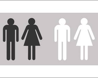 Large Acrylic Restroom Figures - Male & Female Silhouette Set - FREE SHIPPING
