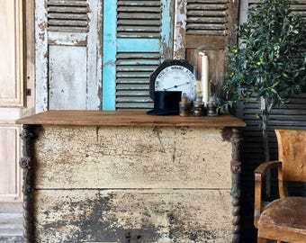 Lovely vintage French rustic industrial style counter