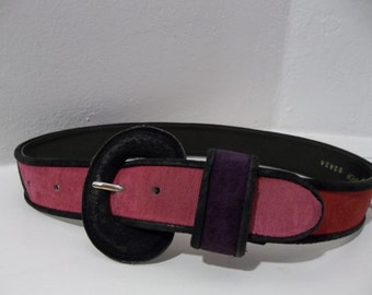 Multi-colored Suede Belt - Pink - Purple - Yellow - Red - Orange - Black / Small/Medium