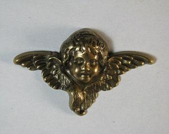 2 Antiqued Brass Angel / Cherub Stampings / Findings
