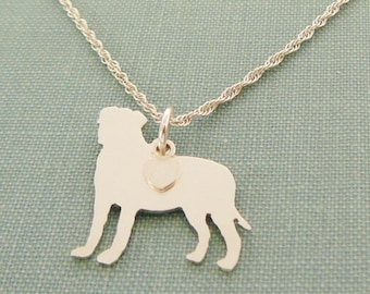 Bullmastiff Dog Necklace, Sterling Silver Personalize Pendant, Breed Silhouette Charm Rescue Shelter, Mothers Day Gift