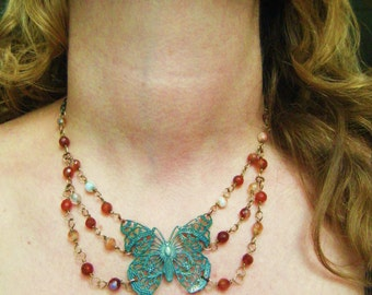 Triple Strand Butterfly Verdigris Filigree with three strands of Red Agate Gorgeous statement dress up or down necklace