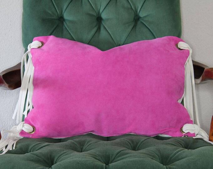 "fuchsia pink leather tassel pillow - 14"" x 20"""