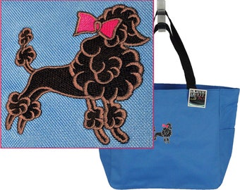 Poodle & Bow Monogram Bag Essential Zippered Tote Show Puppy Dog Doggy Daycare Travel Bag + Name Custom Embroidered