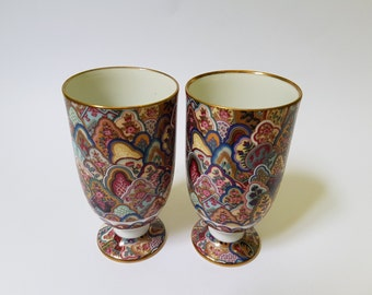 Eclectique Japanese Kai Kai Ceramic Purple Pair of Wine Cup Produced in Tajimi Japan