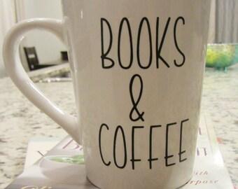 Books and Coffee Mug Personalized Coffee Mug Funny Coffee Mug Mugs with Sayings Custom Coffee Mug Office Coffee Mug Coffee Lover Gift
