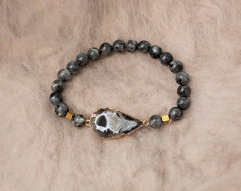Geode & Larvakite Bracelet