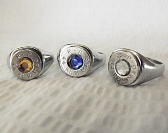 Signet Bullet  Ring 44 Magnum Nickel Size 11 Mens Womens Gift  handmade