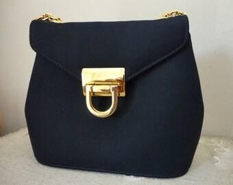 Vintage Navy Blue Small Chain Shoulder Bag