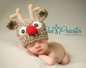 Baby Reindeer Hat, Newborn Reindeer Hat, Baby Christmas hat, Photo prop