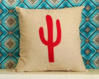 Felt Cactus Pillow Cover, Cacti Pillow Case, desert decor,  Cactus art, southwestern pillow, desert art, cactus applique, cactus lover gift